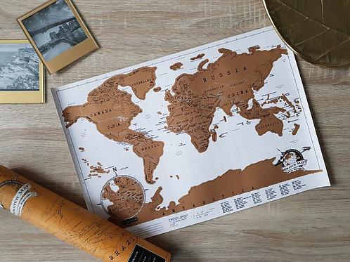 World Scratch Map - White