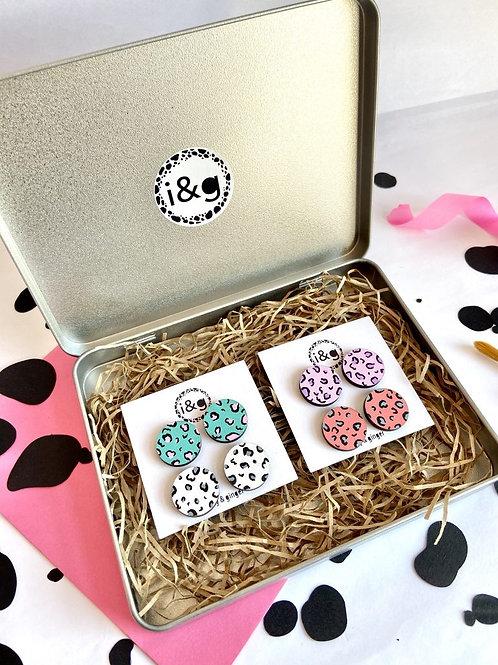 4 Piece Leopard Stud Giftbox Set