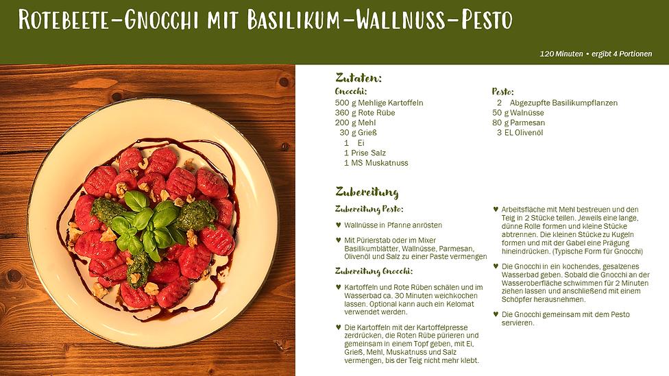 Rotebeete-Gnocchi mit Basilikum-Wallnuss