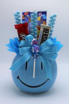 Blue Smiley Pot