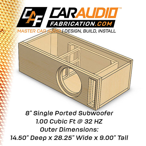 "Single Ported 8"" Design - 1.00 cubic ft @ 32 HZ"