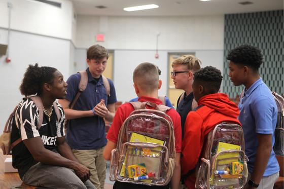 Adoree' Jackson rewards students at DuPont Hadley Middle School