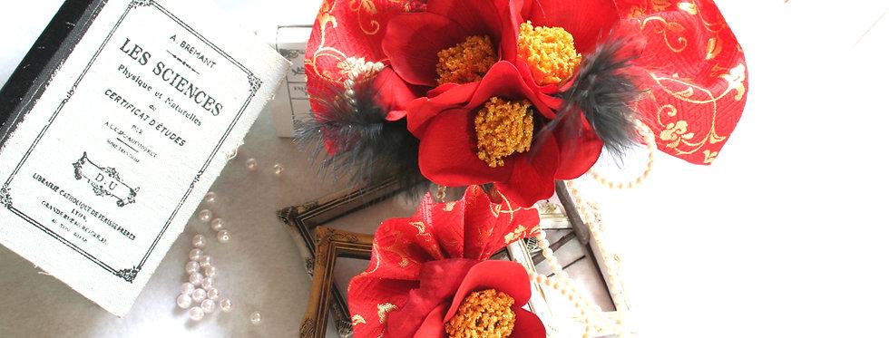 HA026:椿と金襴の髪飾り2つセット
