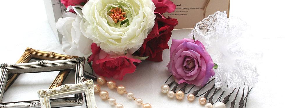 HA085:ヘッドドレス(髪飾り)バラとパールのパーツセット(14パーツ)