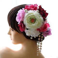 バラとパールのパーツセットの髪飾り