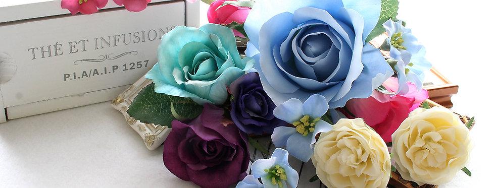 HA014:バラとビジューのパーツセット(16パーツ)の髪飾り