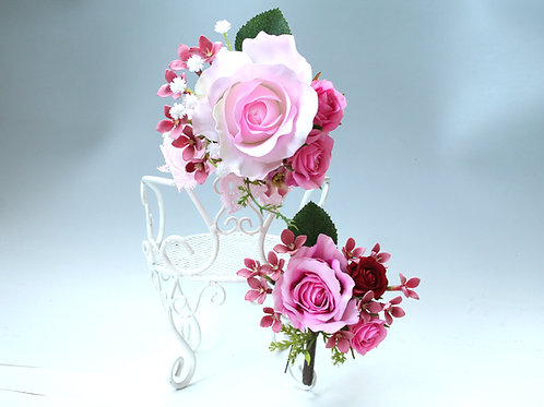 CS007:ピンクバラの髪飾りとコサージュのセット