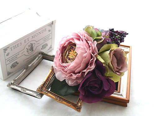 HA071:シックなお色でまとめたラナンキュラスとバラの髪飾り(Uピン)