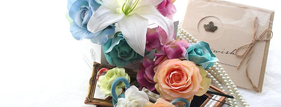 HA004:バラとリリィの華やかな髪飾りセット