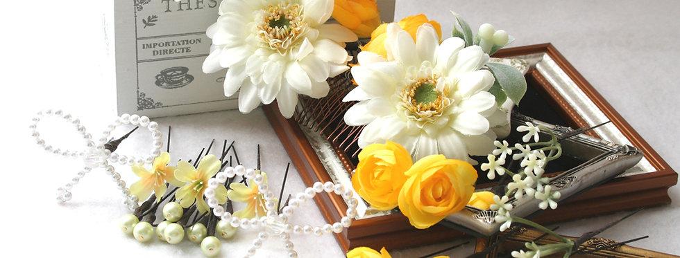 HA084:ガーベラと小花パーツ(30パーツ)の髪飾り