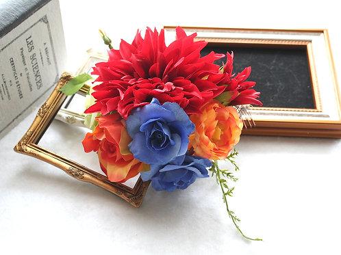 HA074:ダリアとバラの髪飾り(コーム)