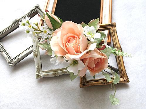 HA048:髪飾り(ヘッドドレス)ピーチ色のバラの髪飾り(Uピン)