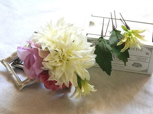 HA029:ヘッドドレスダリアとバラのパーツセット(Uピン)