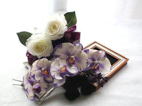HA056:コチョウランとバラのパーツの髪飾り(17パーツ)