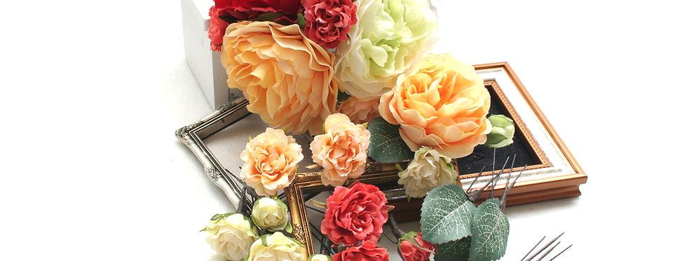 HA067:ピオニーとバラを組み合わせたパーツセット(16パーツ)