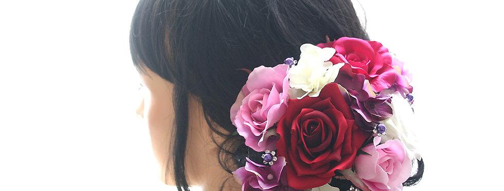 HA110:バラのパーツセットの髪飾り