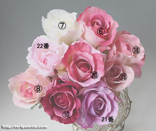 髪飾り用のバラの色見本、ピンク系9色