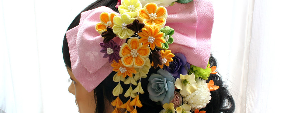 HA047:花ちりめんとピオニーとバラのパーツセット(18パーツ)