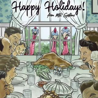 Thanksgiving Turkeys Illustrated Poster