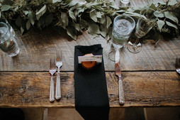 Lovely refined rustic, handmade reclaimed tables at Blackstone Rivers Ranch