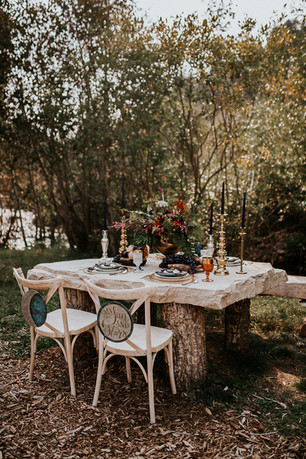 Stone Table and Chairs Wedding at Blackstone Rivers Ranch