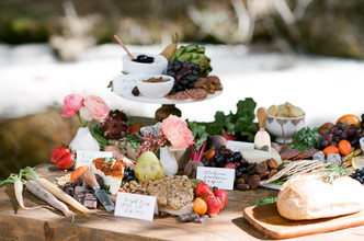 Fabulous Wedding Harvest Table Food Spread at Blackstone Rivers Ranch