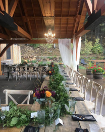 Reception under covered patio at Blackstone Rivers Ranch