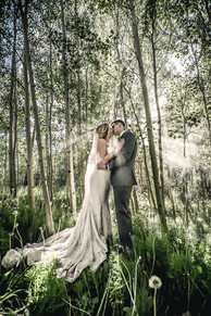Lover's kiss in the aspen grove at Blackstone Rivers Ranch