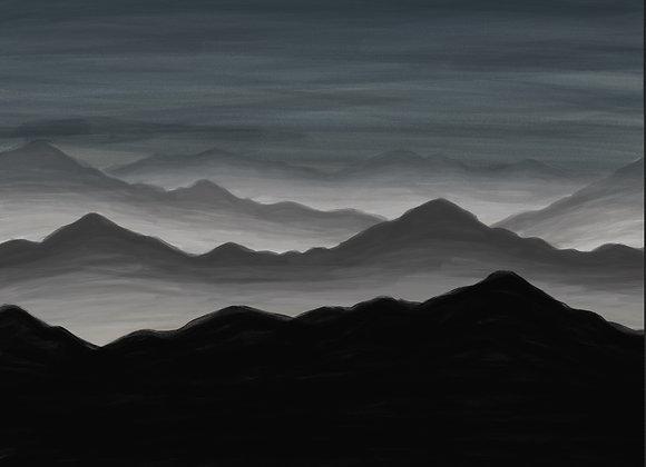 Acrylic Fogged Mountains - Digital Print