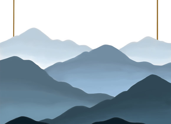 Blue Fogged Mountains - Digital Print