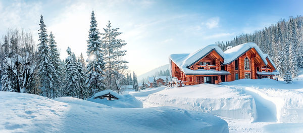 Winter house on winter snowy panoramic l