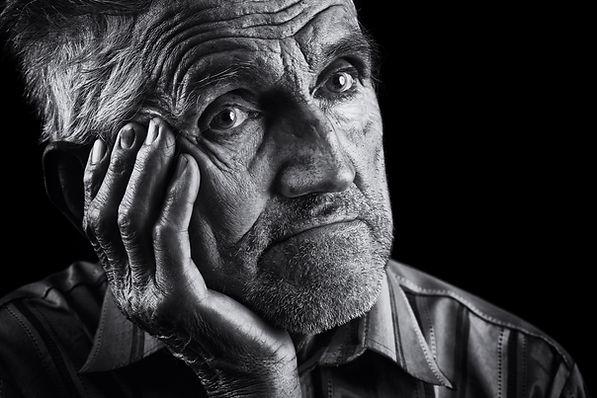 Monochrome stylized portrait of an expre