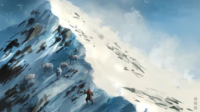 blizzard-concept-art-temujin-vs-wolves.j