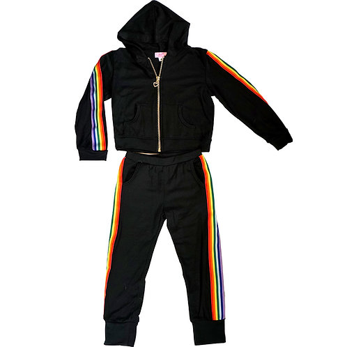 Black Rainbow Stripe Sweatsuit