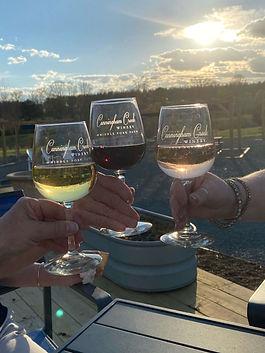 3 wine glasses Toast_with Rose,Petit Verdot, Viognier