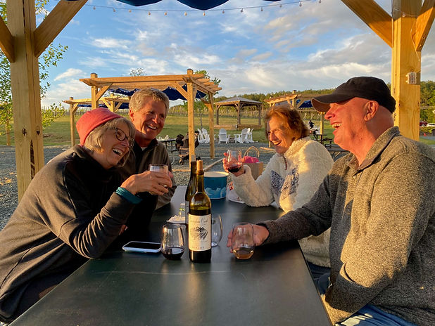 four older friends sitting outside drinking wine and smiling