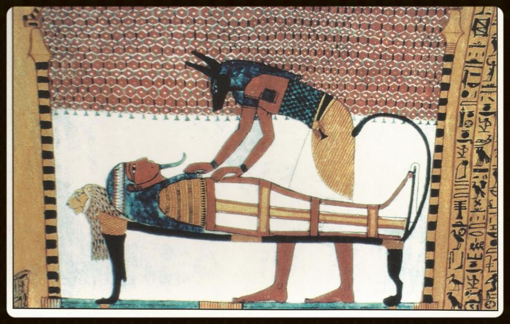 Detalhe da pintura da tumba (cartão postal - foto de autor desconhecido )- Egito