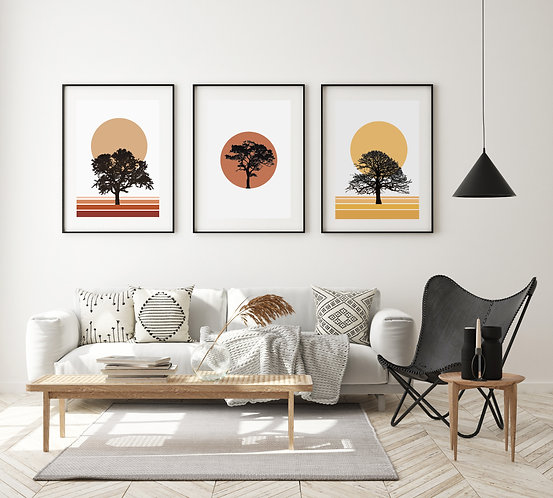 Trio of Abstract Tree Prints