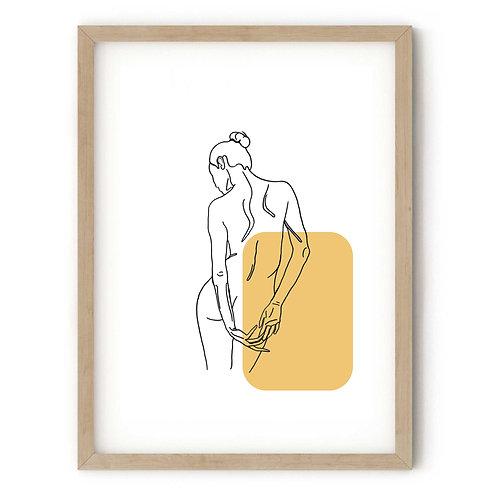 Female Standing Yellow Print