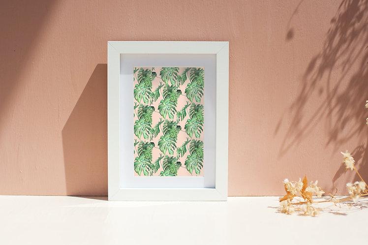 Pink & Green Watercolour Cheese Plant Print
