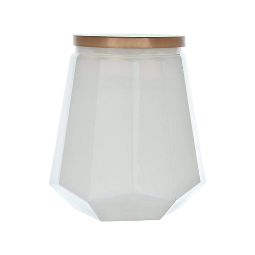 Hexagonal Glass Large Wax Candle with Lid Black Amber Scent