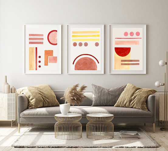 Abstract Trio of Watercolour Prints