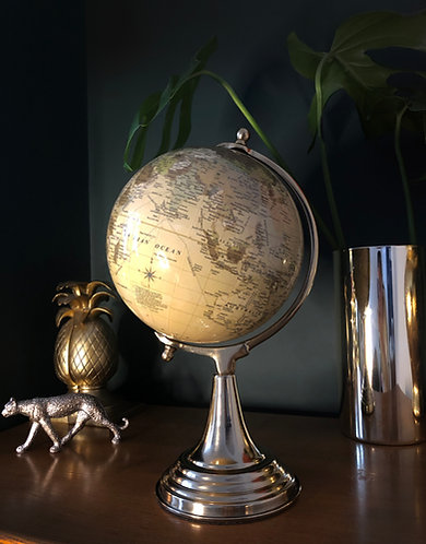 Large Globe on Metal Stand Cream and Gold