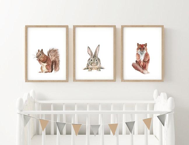 Woodland Animal Trio