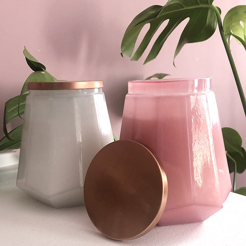 Hexagonal Glass Large Wax Candle with Lid - Pink Grapefruit Scent