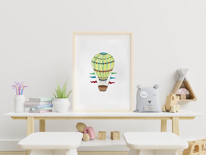 Hot Air Balloon Watercolour Print