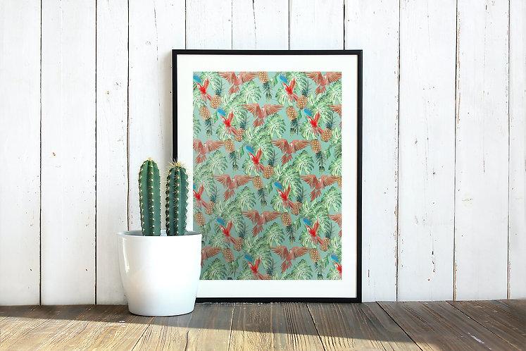 Parrots & Pineapples Print