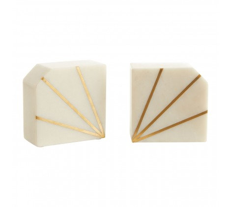 Marble & Brass Bookends