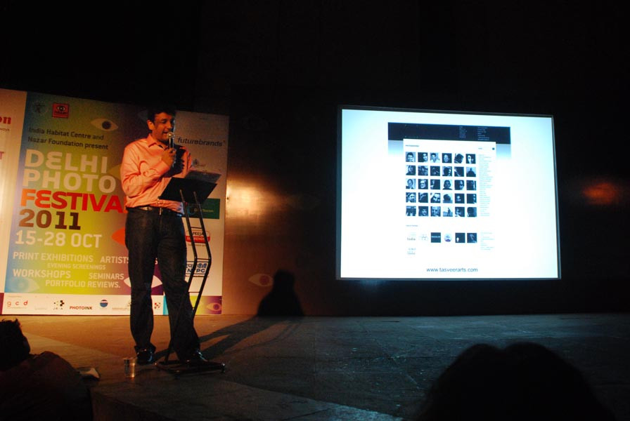 Abhishek Poddar of Tasveer makes a presentation about his dream project, The Museum of Art and Photography