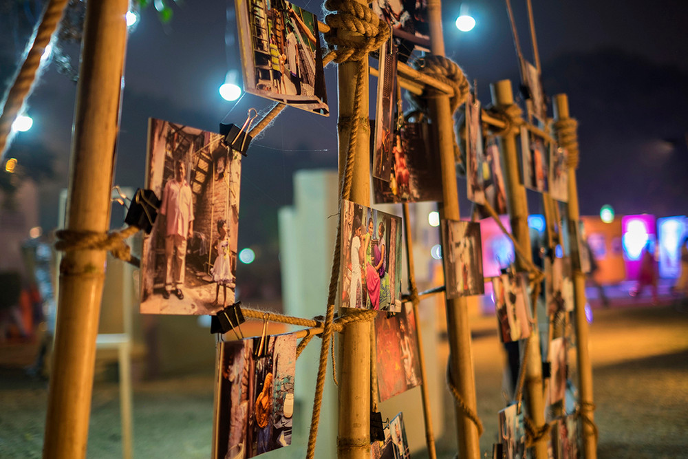 """Installation view of """"Nukkad"""", an exhibition resulting from a workshop conducted by DPF team in partnership with Aarohan, an NGO working for chilkd rights."""